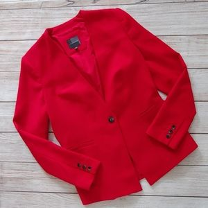 THE LIMITED RED COLLARLESS BLAZER MEDIUM